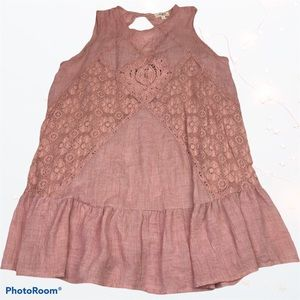 Umgee Dusty Rose Pink Tunic Crochet Sleeveless